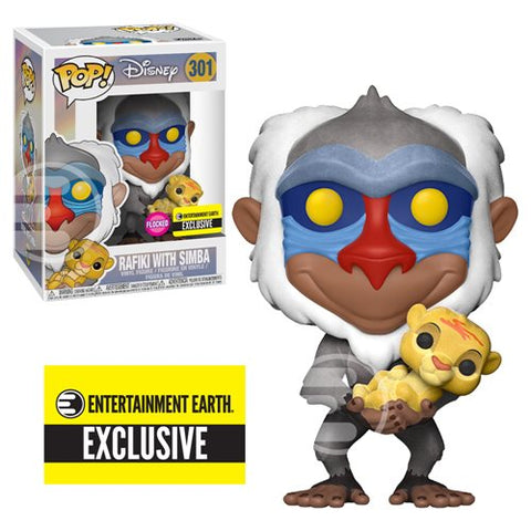 Funko POP! Lion King - Rafiki with Baby Simba Flocked Vinyl Figure #301 - Entertainment Earth Exclusive