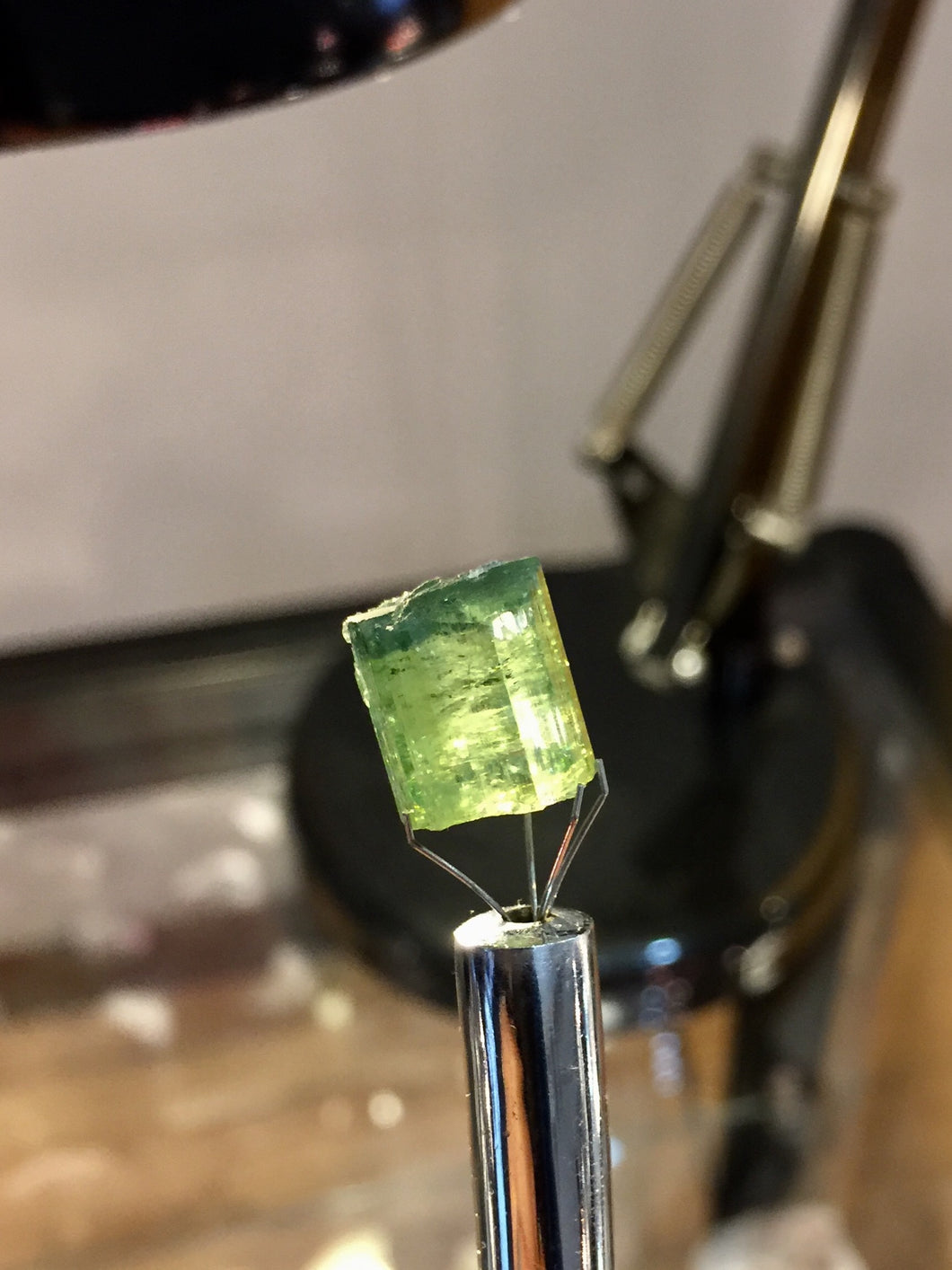 Green Tourmaline crystal with bluish core from Minas Gerais, Brazil
