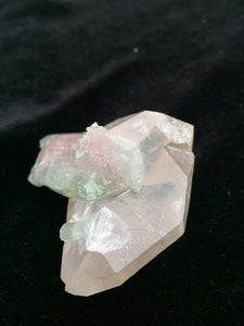 Double terminated watermelon Tourmaline on double terminated Quartz from Afghanistan