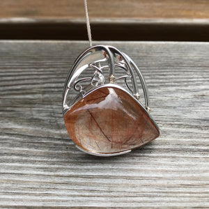 Rutile Quartz Sterling Silver Pendant with Gold and Diamond accents