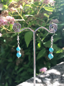 Kingman Turquoise and Argentium Silver Earrings