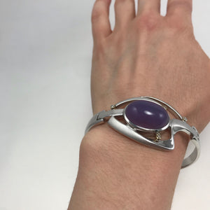 Purple Chalcedony and Sterling Silver Bracelet