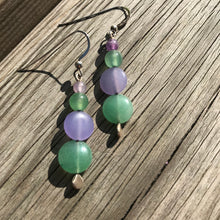 Rare Lavender and Green Jade Earrings