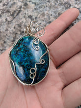 Shattuckite and Sterling Silver Wrap Pendant