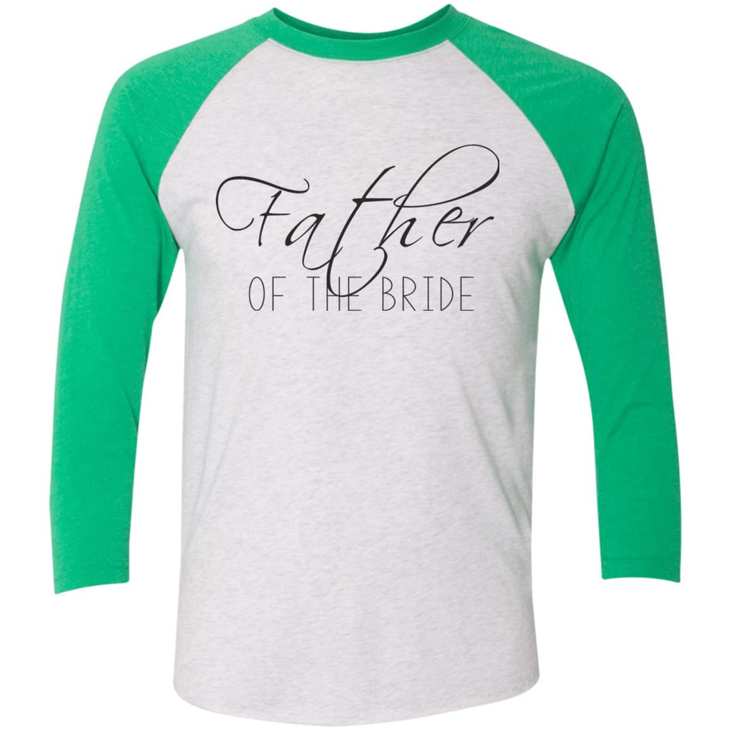 Father of The Bride Script 3/4 Sleeve Baseball T-Shirt