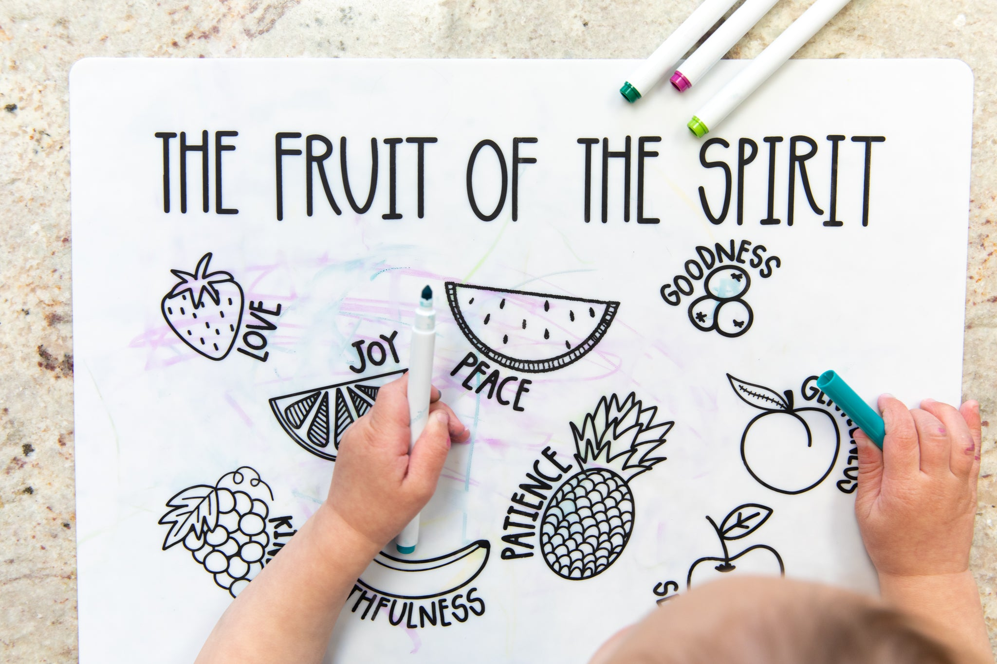 Fruit Of The Spirit Coloring Mat His Kids Company