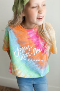 Tie Dye Jesus Loves Me t-shirt