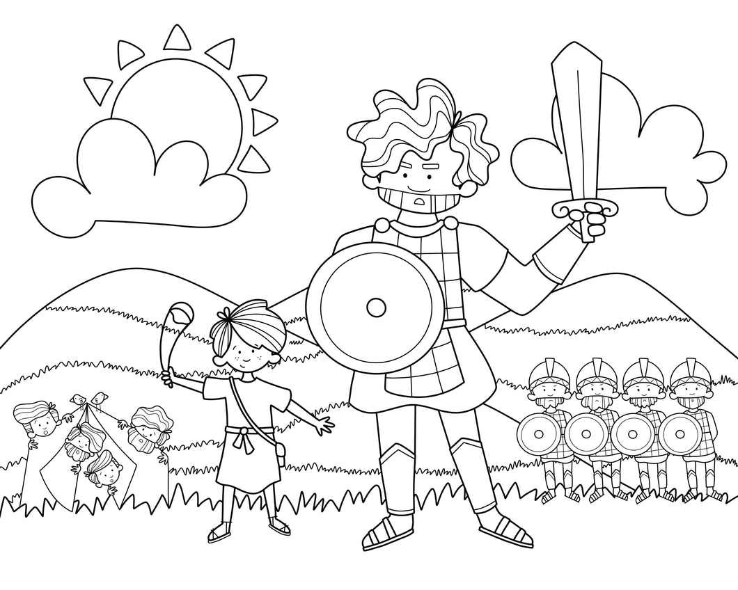 David & Goliath Coloring Mat