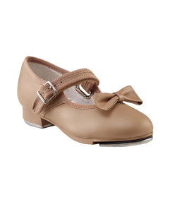 Single nude coloured Capezio Mary Jane tap shoe with a strap accross the foot and a bow on top