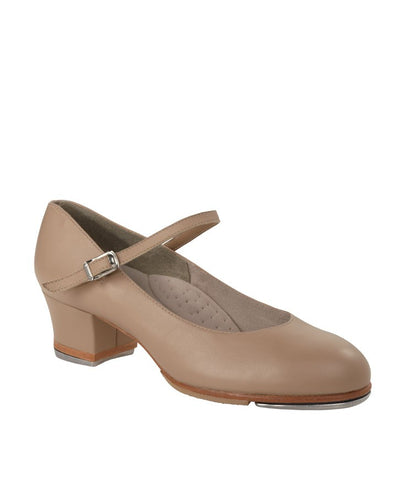 Capezio Footlight Cuban heel tap shoe in nude colour on a white background
