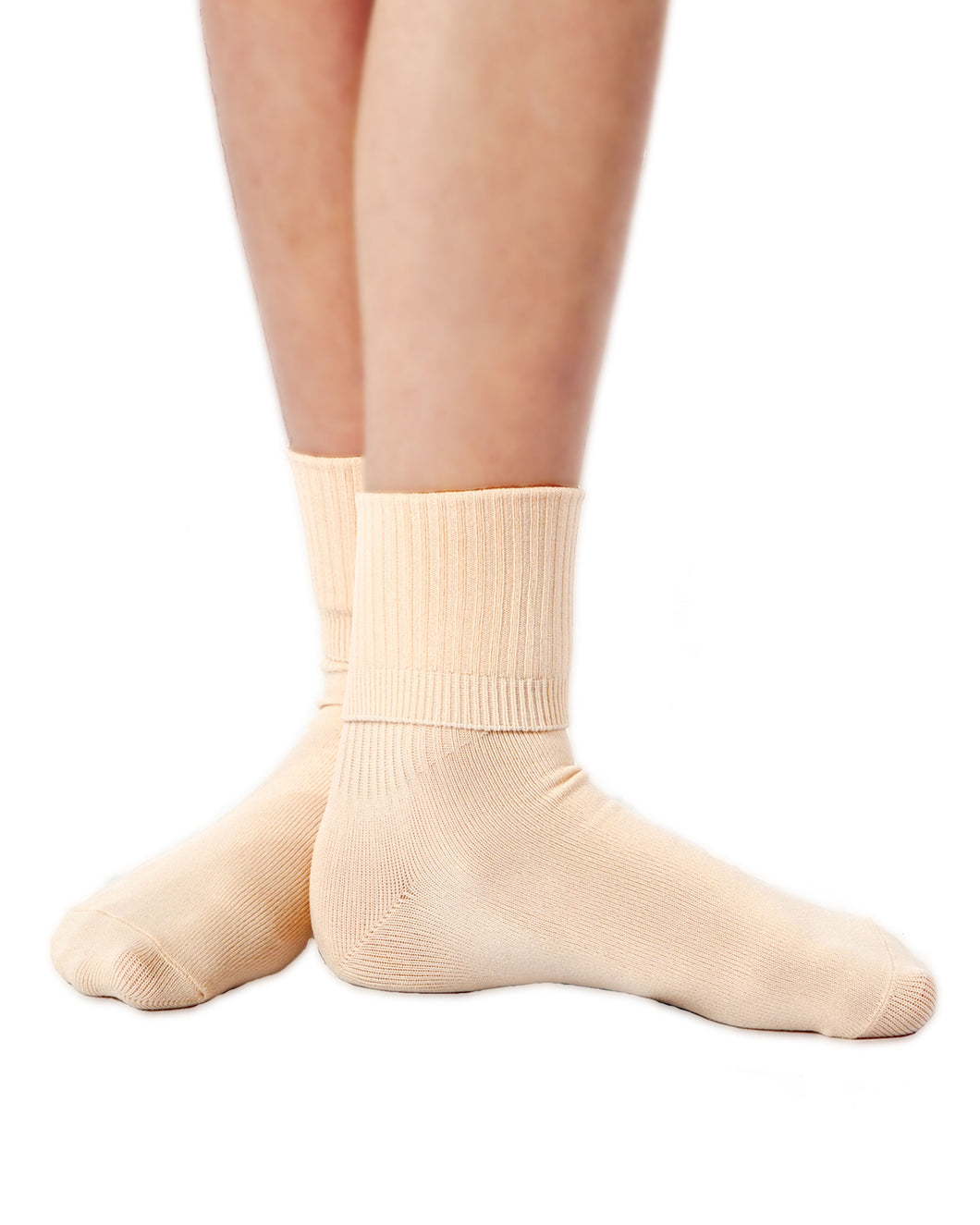 Ribbed flesh coloured ballet socks
