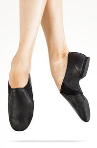 Dancer's pointed feet wearing black leather MDM jazz shoes