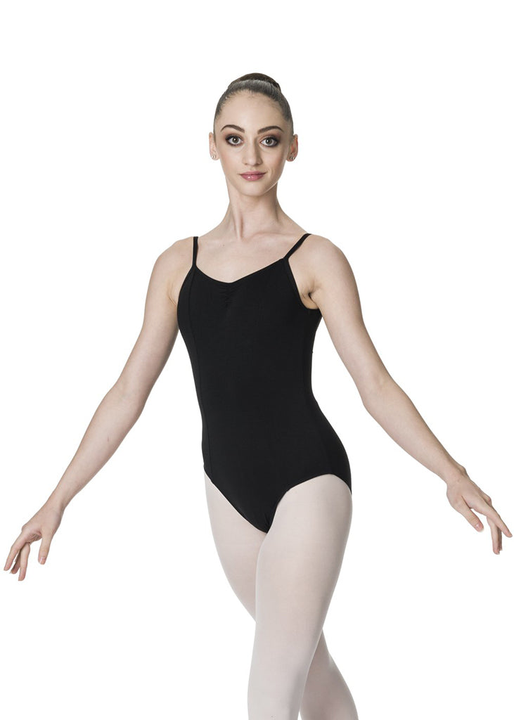 Dancer wearing a black leotard arms away from body