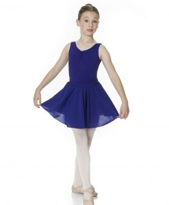 Young ballet dancer holding out her navy blue chiffon wrap skirt