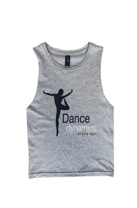 Grey marle Dance Dynamics logo top with cut out sleeves and some wrinkles lying flat on a white background.