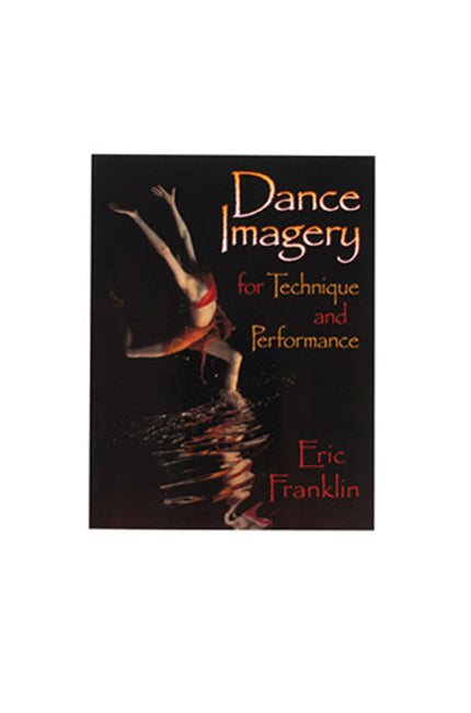 Dance Imagery black book cover with a dancer jumping in water in the dark wearing red costume