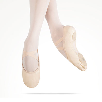 Dancer's legs jumping with toes pointing wearing MDM Elemental leather ballet shoe