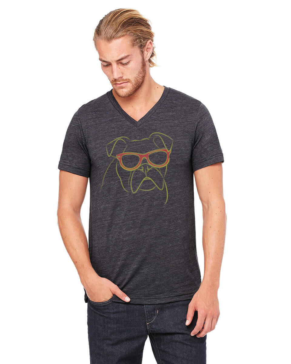 Dark Grey colored T-shirt with a Bulldog wearing red sunglasses on it