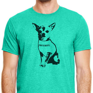 Green T-shirt with a chihuahua on it wearing a shirt that says 'Security'