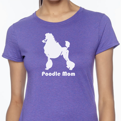 Purple colored T-shirt with a profile image of a poodle on it with the words 'Poodle Mom' underneath