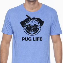 Blue colored T-shirt with a pug dog's face on it wearing a bandanna and the words 'Pug Life' underneath