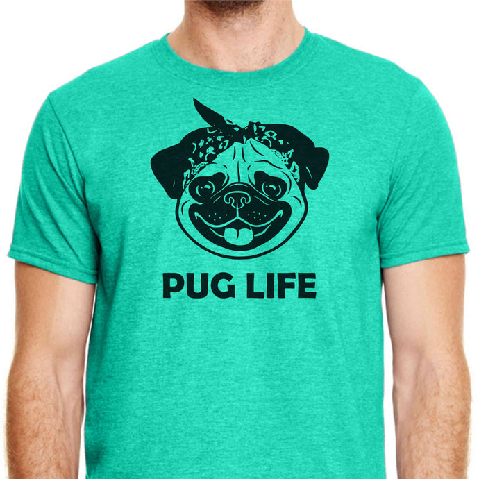 Green colored T-shirt with a pug dog's face on it wearing a bandanna and the words 'Pug Life' underneath