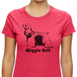Red colored T-shirt with a Cocker Spaniel on it and the words 'Wiggle Butt' below the image