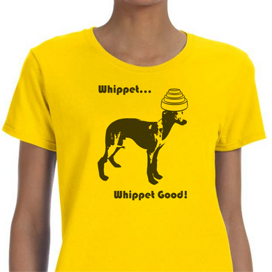 Yellow colored T-shirt with a Whippet dog wearing a Devo hat on it and the words 'Whippet Whippet Good' above