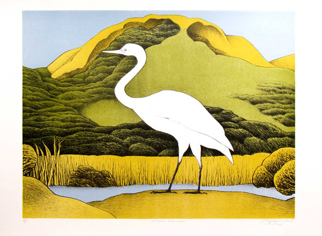 Don Binney, Kotuku Puketotara, 2005,  edition of 75,  lithograph,  paper size: 500 x 700mm