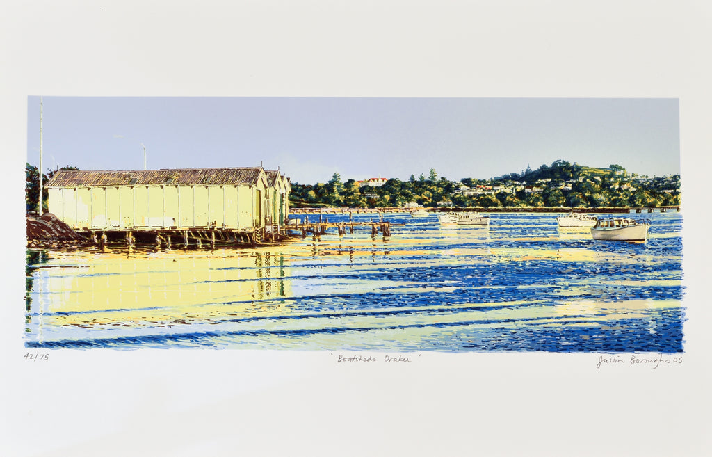 Justin Boroughs, Boatsheds, Orakei, 2005, edition of 75, silkscreen, 500 x 700mm
