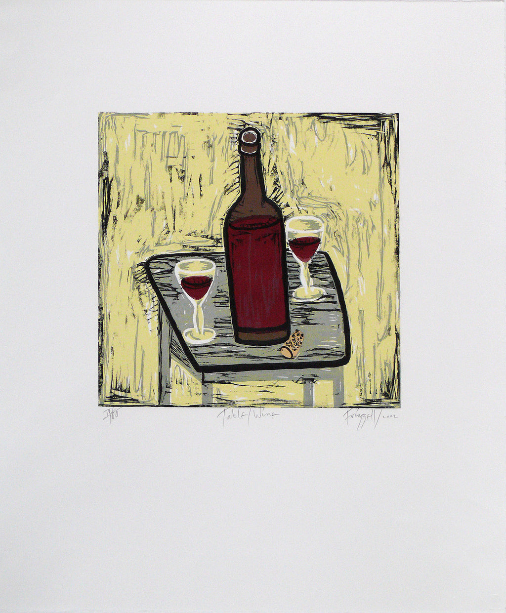 Frizzell_2002_Table Wine_woodcut on paper_600 x 510mm_aFRI430-02