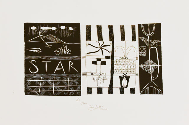 John Pule, Star, 2000, edition of 28, woodcut and etching, paper size: 375 x 500mm