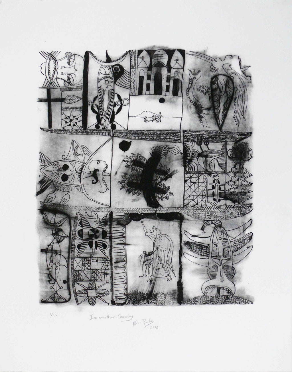 John Pule, In Another Country, 2013,  edition of 15  etching,  paper size: 525 x 670mm