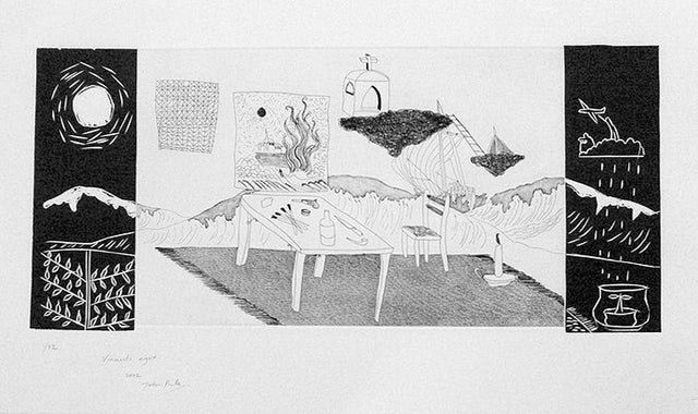 John Pule, Vincent's Night, 2003, edition of 32,  etching / woodcut on Velin Arches white (250 gsm), paper size: 450 x 750mm