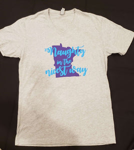 """Naughty in the nicest way"" T-shirt V-neck UNISEX"
