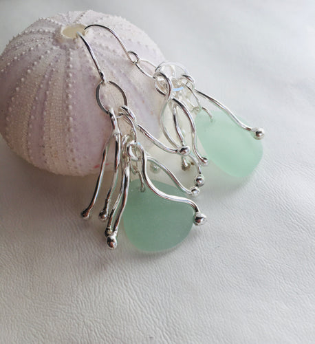 Kaleimaeole Limu Earrings With Light Blue Sea Glass