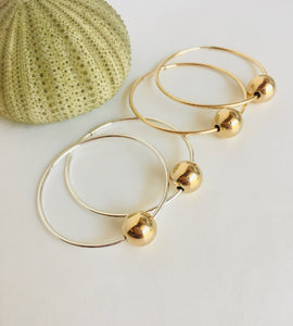 Sterling Silver Endless Hoops with Gold Filled 6mm Bead