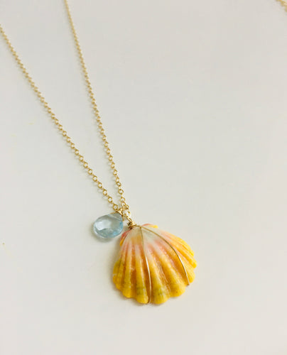 Sunrise Shell Necklace with Blue Topaz