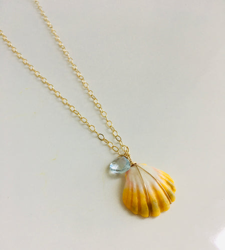 Sunrise Shell Necklace with Blue Topaz Accent  on 2.3 mm chain