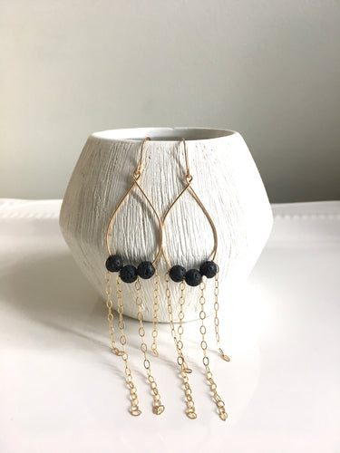 Black Lava Oil Diffuser Earrings
