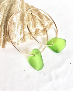 Sea Glass Endless Hoop Earrings