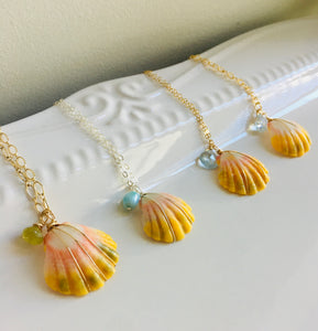 Sunrise Shell Necklace with Larimar