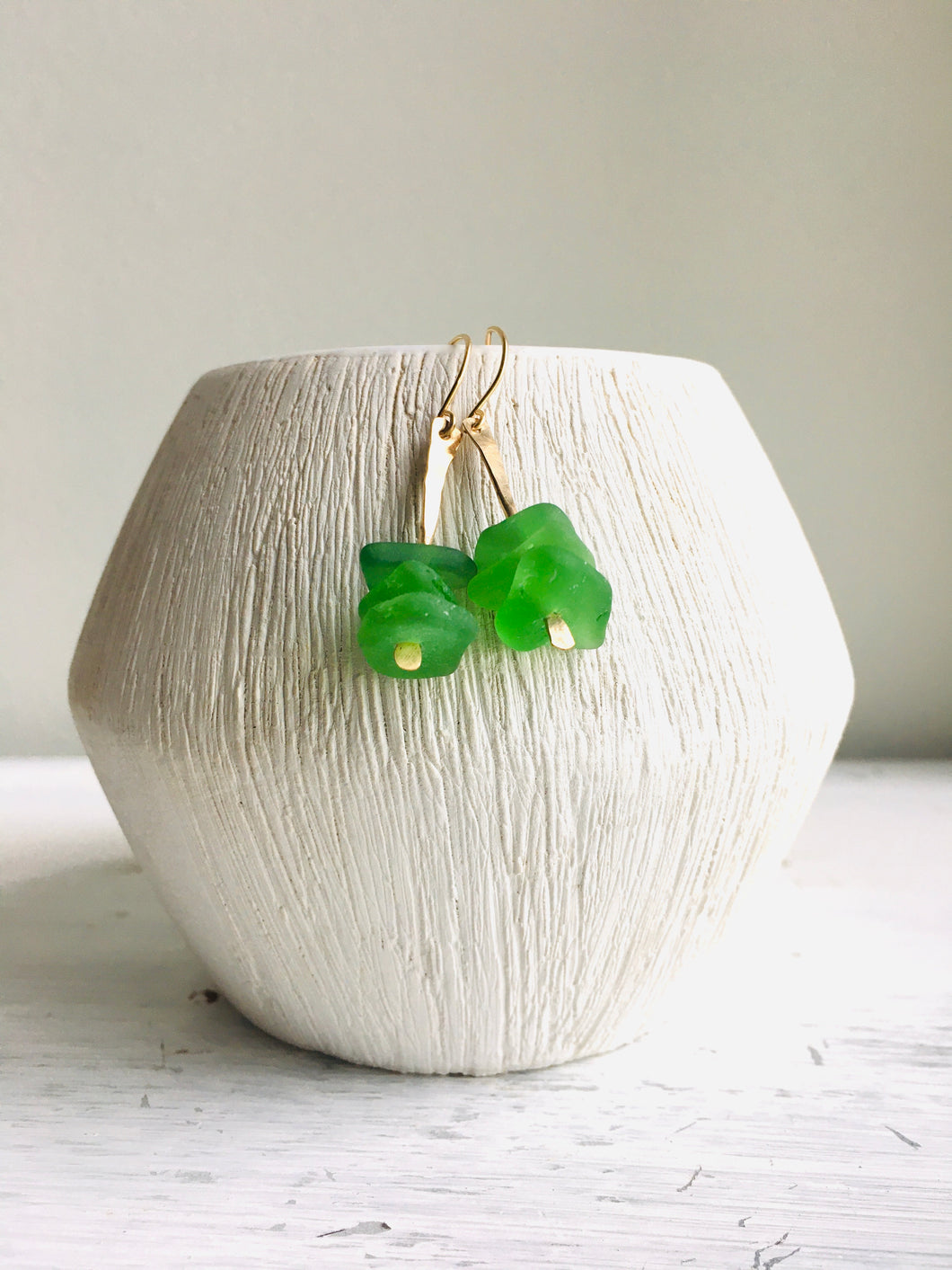 Green Sea Glass Pin Earrings