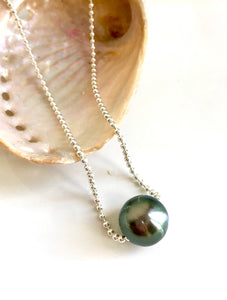 One left! Tahitian Pearl on Sterling Silver Ball Chain