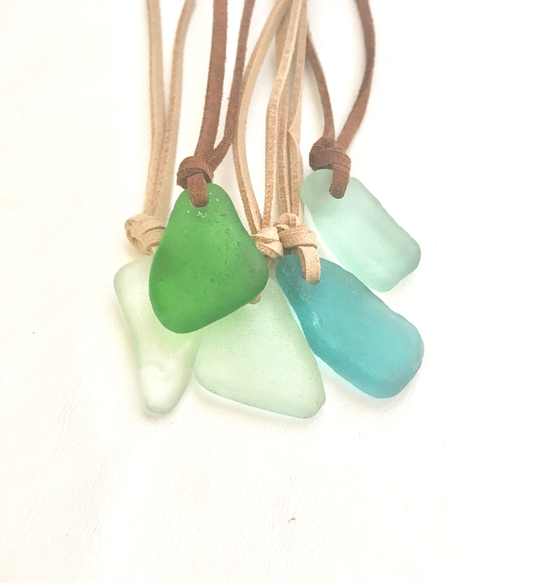 Sea Glass Necklace on Vegan Suede