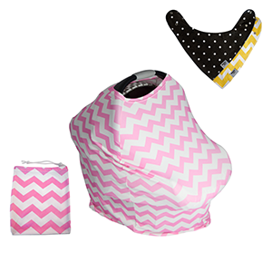 Pink & White Chevron Baby Car Seat Covers, 5 in 1, Plus TWO FREE Baby Bandanas! FIVE COMBINATIONS to choose from! Infant Car Seat Cover, Nursing Cover, Shopping Cart Cover, Booster Seat Cover,