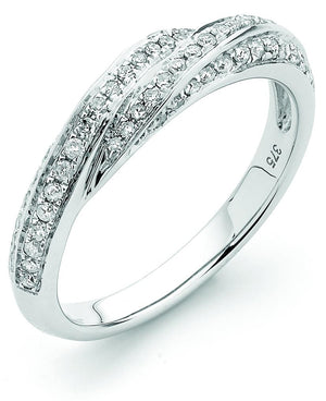 9ct White Gold Diamond Crossover Ring
