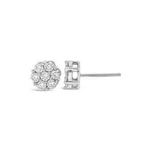 1.00ct White Gold Diamond Cluster Earrings