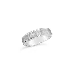 Gents 9ct White Gold Textured Centre Wedding Band
