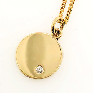 Gold Diamond Disc Pendant Necklace